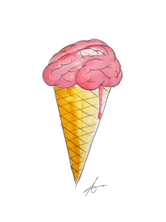 Brain ice-cream. Watercolours on paper.