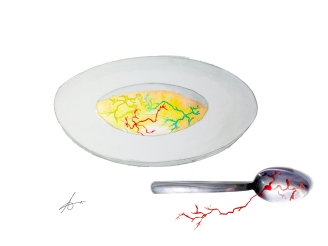 Soup of neurons. Watercolours on paper.